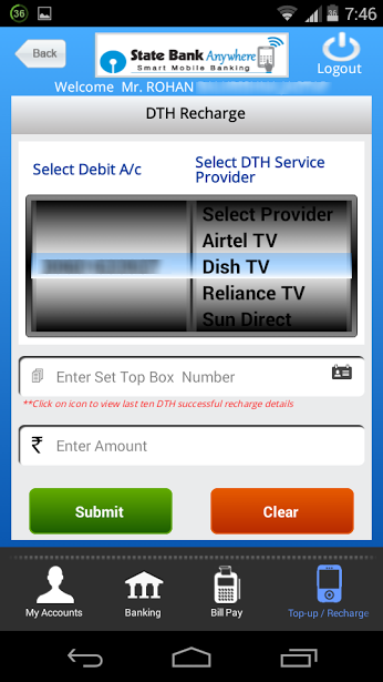 Use State Bank Anywhere App to Recharge DTH Service