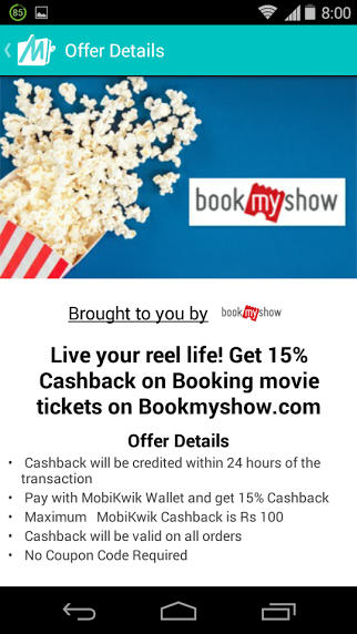 BookMyShow CashBack using Mobikwik Wallet