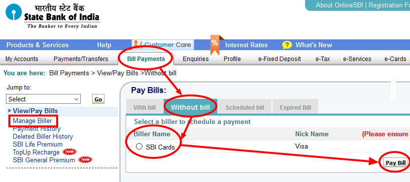 SBI NetBanking to Pay SBI Credit Card Bill